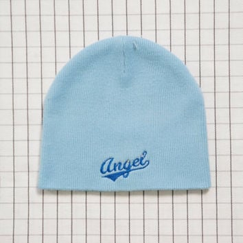 90's Angel Beanie, Light Blue Beanie, Cyber Angel, 90's Girl, Angel Hat, Aesthetic, Tumblr