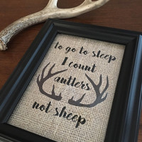 I count antlers not sheep framed burlap print 5x7