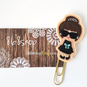 Audrey Planner Clip| Breakfast at Tiffany| Audrey Hepburn|Paper clips| Planner Accessory| Journal Marker| Bookmark| Teachers| Friends| Gifts
