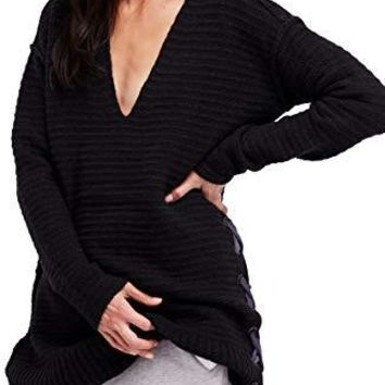 Free People Heart It Laces Sweater Black Size Small