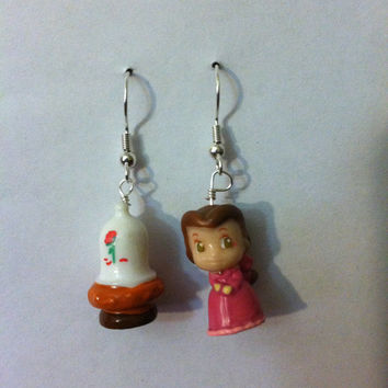 Beauty and the Beast Earrings by PurplePandaJewelry on Etsy