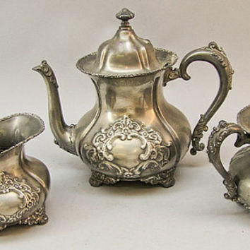 Vintage Quadruple Silver-Plated Tea Set by Forbes Silver Co. - Tea Pot, Creamer, Sugar Bowl - Etched Silver - Tea Party