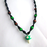 Handmade Mushroom Necklace Black Hemp Necklace Green 1up Mushroom
