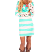 Mint Striped Crochet Detail Dress with Lining
