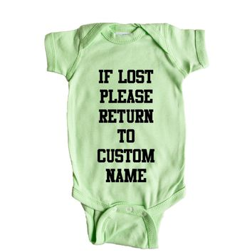 If Lost Please Return To Custom Name Baby Onesuit