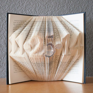 Anniversary Gift-Folded Book Art- Book Lovers-Wedding Date-Home Decor-Paper Anniversary-Birth Date
