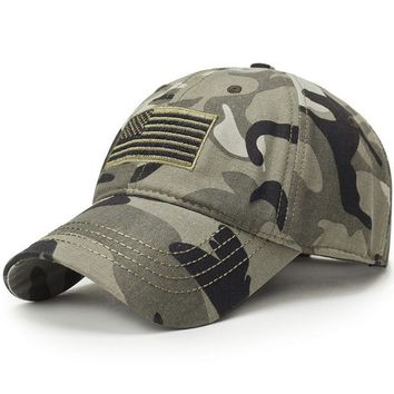 Men USA Flag Camouflage Graphic, Cool Baseball Cap Army Embroidery Cotton Tactical Snapback Hat