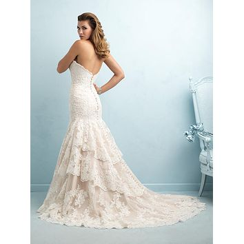 Allure Bridals 9215 Strapless Lace Mermaid Sample Sale Wedding Dress