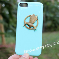Turquoise,Mockingjay,iPhone 5c case,Catching fire,Mockingjay pin Iphone case,Hunger,studded iPhone 4 /5 case,Games,Jewelry,iPhone 4s case