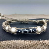 Adjustable Tribal Aztec Bone Beaded Hemp Bracelet