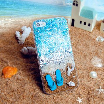 CrazyPomelo Summer Beach Blingbling Sequin Handmade Phone Case 5/5S