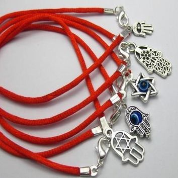 100Pcs Mixed Kabbalah Hand Charms Red String Good Luck Bracelets