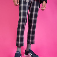 Plaid Cropped Straight Trousers
