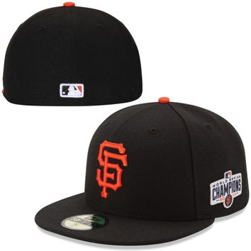 San Francisco Giants New Era Authentic Collection 59FIFTY Game Hat with 2014 World Series Champions Patch - Black