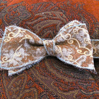 Reversible Brown and Blue Patterned Mens Bow Tie with Rustic/Rough Edges. Multiple Sizes Available