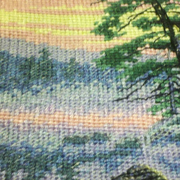 Counted Cross Stitch, Completed, Lakeside, Canoe, Boat, Kayak, Camping, Morning Lake, Cabin, Country, Fishing,Hunting,Outdoors,Gift,Wall Art