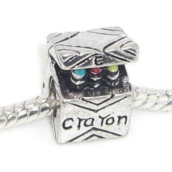 "AUGUAU Jewelry Monster Antique Finish ""Crayon Box"" Charm Bead for Snake Chain Charm Bracelet"