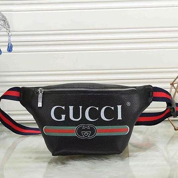 GUCCI Fashion Women Men Leather Print Satchel Waist Bag Single Shoulder Bag Black I