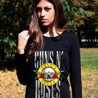 Guns N Roses Shirts Long Sleeve Logo 3 Guns and Roses Shirt Punk Rock Axl Rose Slash Baseball Shirt Women Lady Shirt