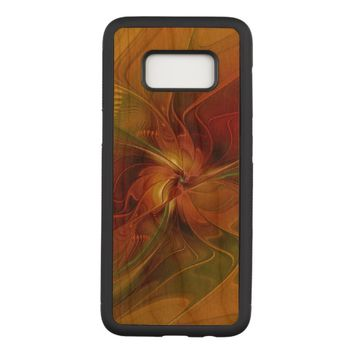 Abstract Red Orange Brown Green Fractal Art Flower Carved Samsung Galaxy S8 Case