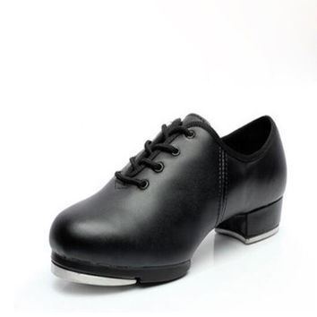 Human Leather Clogging Tap Shoes For Men And Women Lace Up Size EU34-EU45 Jazz Clogging Shoe Excellent Free Shipping