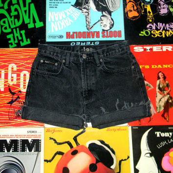 Black Stone Washed Denim SHORT Shorts - Frayed, Rolled Up, Black Denim L.E.I. Brand Cut Off Jean Shorts Size 4 Small S