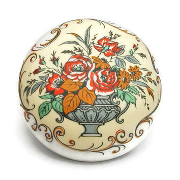 Sandford Fine Bone China Trinket Box Made in England Orange Red Green Grey Floral Flower Bouquet & Vase Design Small White Lidded Round Box