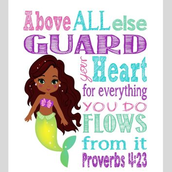 African American Ariel Mermaid Christian Princess Nursery Decor Wall Art Print - Above all else Guard your Heart - Proverbs 4:23 Bible Verse - Multiple Sizes