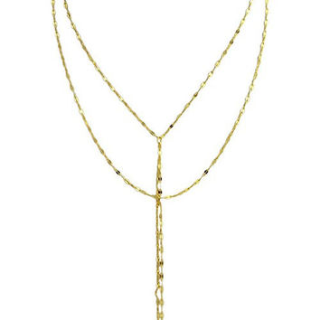 Y-Shaped Engraved Flame Layered Necklace