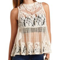 Mixed Lace Mock Neck Babydoll Top by Charlotte Russe - White