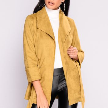 My Soul Is Living Faux Suede Jacket - Light Olive