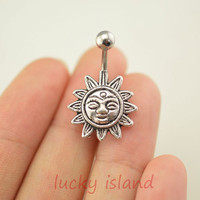 belly button ring,sun belly ring,navel ring belly button jewelry,sun belly ring,lucky bellyring