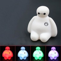 New Colors Changing Creative Cartoon Toy Baymax Light PVC Action Figures Toys Kids Children Gift