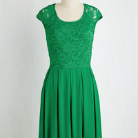 Mid-length Cap Sleeves A-line Bold to Behold Dress in Kelly Green