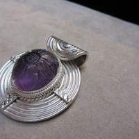 Vintage CHINESE Sterling Silver Pendant Large Cabochon Carved Amethyst Enhancer