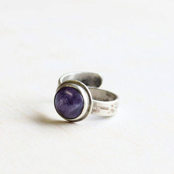 Amethyst wedding ring sterling silver band ring adjustable ring