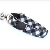"Cat Collar - ""Spellbound"" - Black Gingham Plaid Check"