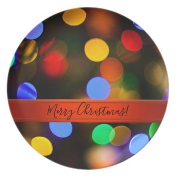 Multicolored Christmas lights. Add text or name. Melamine Plate