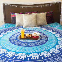 MyNelo Folkulture Blue Elephant Tapestry, Bohemian Wall Tapestry Throw for Bedroom, Hippie / Hippy Tapestry Wall Hanging, Indian Mandala Tapestry Bedding / Bedspreads, Queen Size, Bonus Set of Boho Earrings
