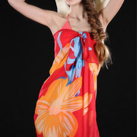 Red Floral Fringeless Sarong