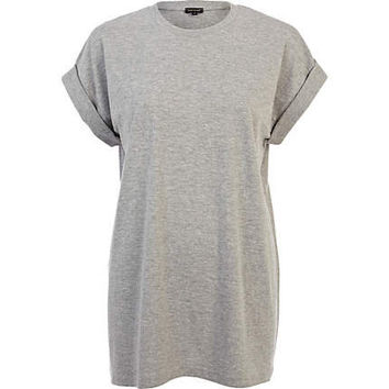 Grey oversized longline boyfriend t-shirt - plain t-shirts / tanks - t shirts / tanks / sweats - women