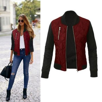 SHIBEVER Autumn Women Jacket Coat Veste Femme Cotton Zipper Riverdale Jacket  Outwear Stand Collar Casual Fashion Jacket ALD1217
