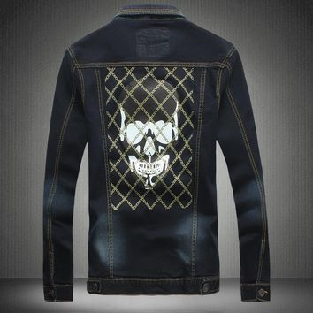 Denim Jacket turn-down Collar Jeans Skull Printed Jeans Jacket Men Autumn Casual