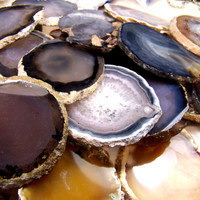 Agate slices - single or lot - selected at random - polished - druzy geode - red brown black white yellow natural medium to large oval round