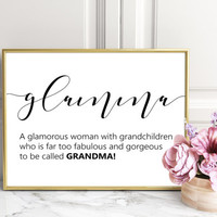 Glamma definition, Glamma print, grandmother gifts,funny definition print, dorm decor, college dorm girl, dictionary art, minimalist poster