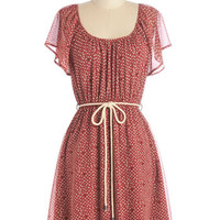 ModCloth Boho Mid-length Short Sleeves A-line Lady in the Spotlight Dress