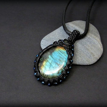 OOAK Wire wrapped Labradorite necklace, blue Labradorite pendant, black copper wire wrap, unique necklace for women