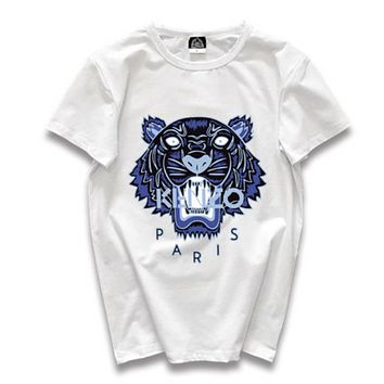 Kenzo Fashion New Summer Letter Tiger Print Leisure Women Men Top T-Shirt White