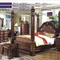Inland Empire Furniture California King Size Audrey Cognac Dark Gold Accents Solid Wood Bonded Leather Canopy Bedroom Group