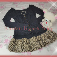 DreamV / Yumetenbo Two Piece Leopard Print Tunic and Skirt Set-Up